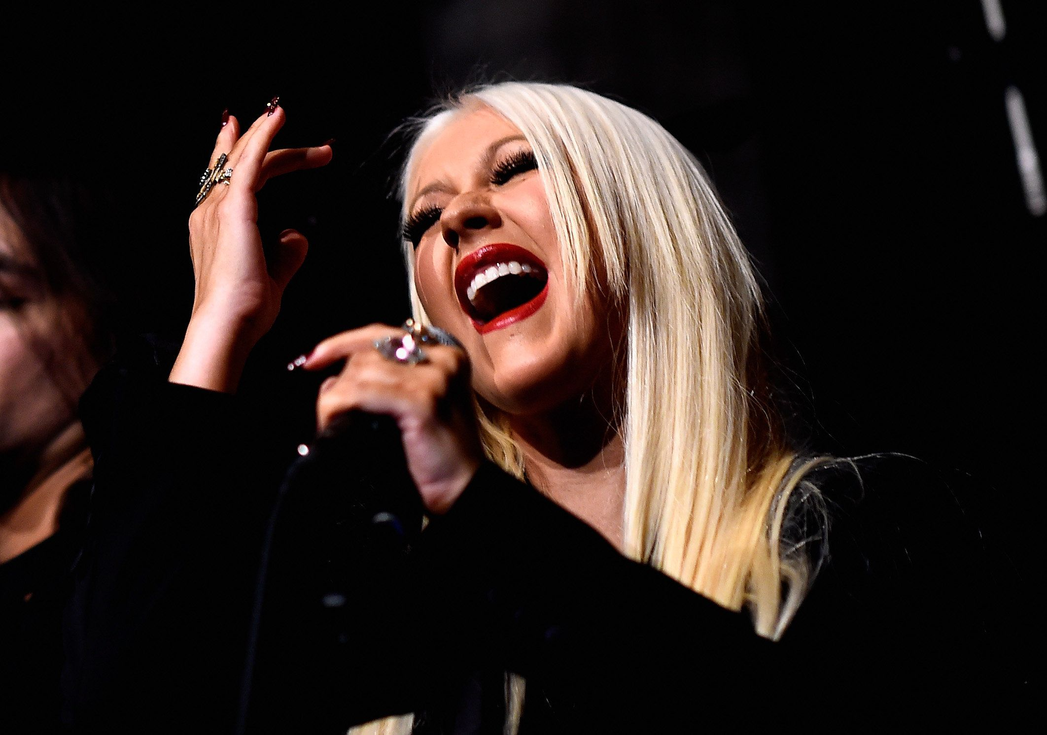 LOS ANGELES, CA - JANUARY 05:  Singer Christina Aguilera performs at the Linda Perry Celebration For The Song 'Hands Of Love' From The Film 'Freeheld' on January 5, 2016 in Los Angeles, California.  (Photo by Frazer Harrison/Getty Images)