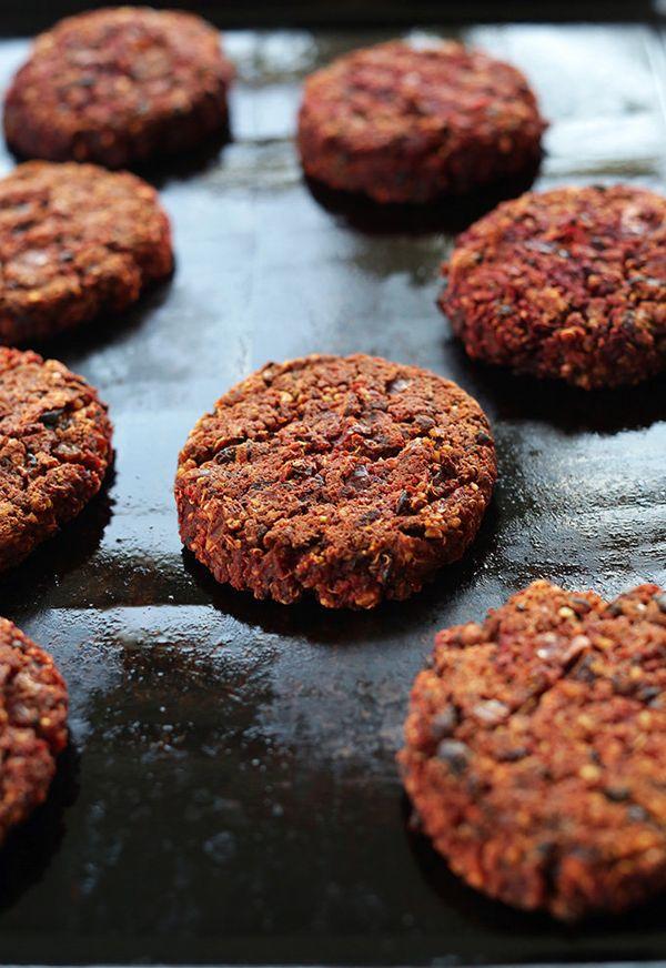 "<strong>Get the<a href=""http://minimalistbaker.com/smoky-black-bean-beet-burgers/"">Smokey Black Bean Beet Burger recipe"