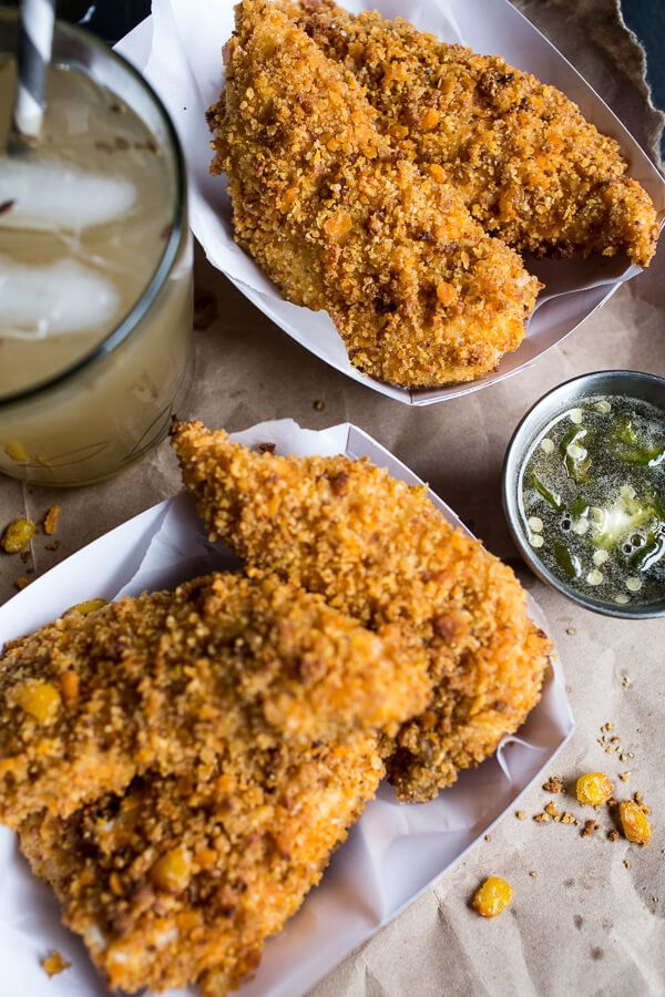 """<strong>Get the <a href=""""http://www.halfbakedharvest.com/cheddar-cornbread-chicken-fingers-with-jalapeno-honey-butter/"""">Cornb"""