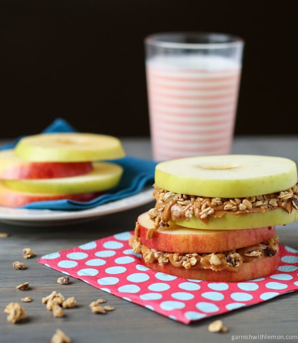 "<strong>Get the <a href=""http://www.garnishwithlemon.com/apple-sandwiches-with-almond-butter-and-granola/"">Apple Sandwiches W"