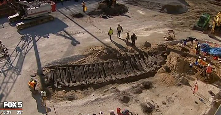 Archeologists excavate a Revolutionary War-era ship beneath a hotel's construction site.