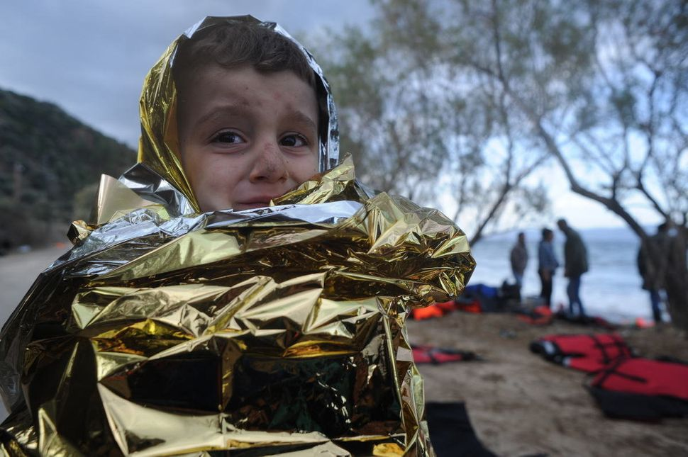 A child on the shores of Lesbos.