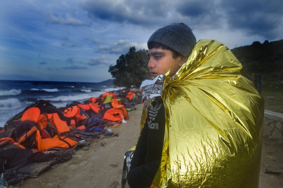 Refugees arriving on Lesbos.