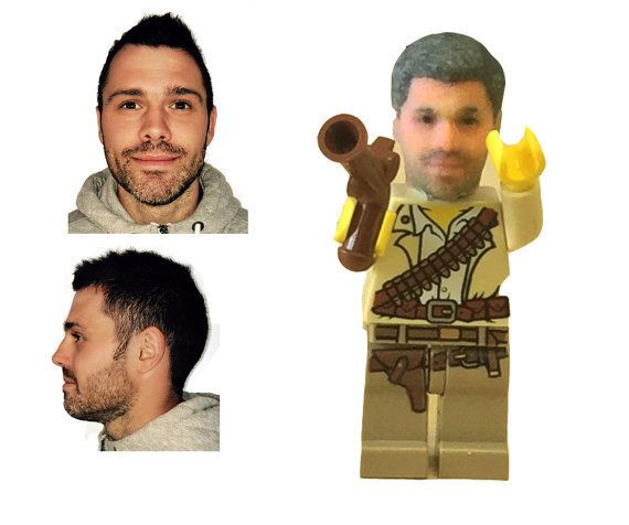 The two photos on the left were used to make this man's custom Lego head, which appearson the right.