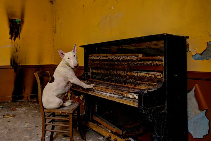 Claire playing the piano in an abandoned Cafe in Luxembourg.