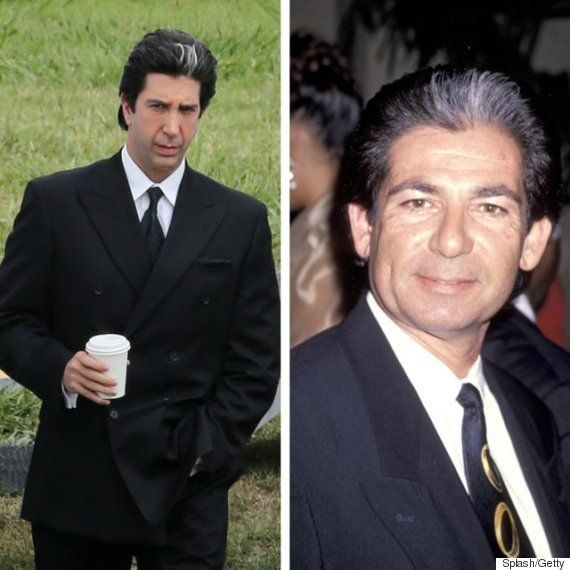 "L to R: David Schwimmer on the set of ""American Crime Story,"" and Robert Kardashian in 1994."