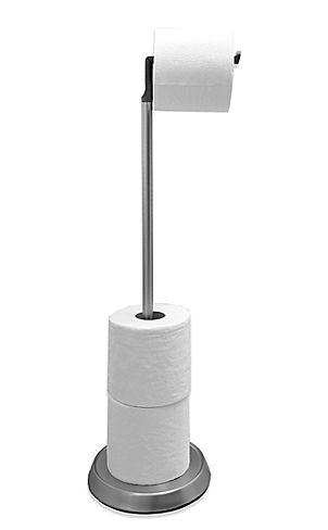 """<a href=""""http://www.bedbathandbeyond.com/store/product/umbra-reg-toilet-paper-stand-with-silicone-head-in-brushed-nickel/1043"""