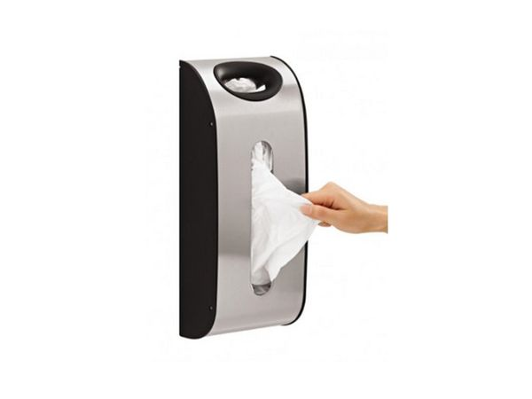 """<a href=""""http://www.amazon.com/simplehuman-Mount-Grocery-Dispenser-Stainless/dp/B007ZF638G?tag=thehuffingtop-20"""">Simplehuman"""