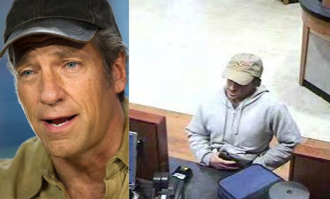 "Mike Rowe, the host of TV show ""Dirty Jobs,"" has denied being an elusive Oregon bank robber, seen right, after a slew of play"
