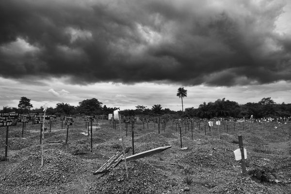 The Ebola cemetery in the district of Makeni, Sierra Leone, has more than 600 graves.