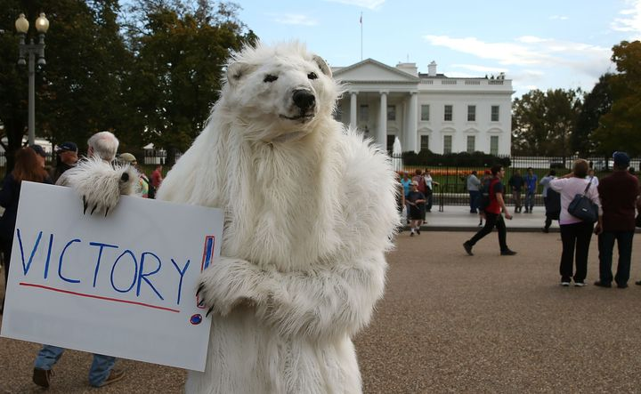 A climate control activist celebrated after President Obama announced that he would reject the Keystone oil pipeline in Novem