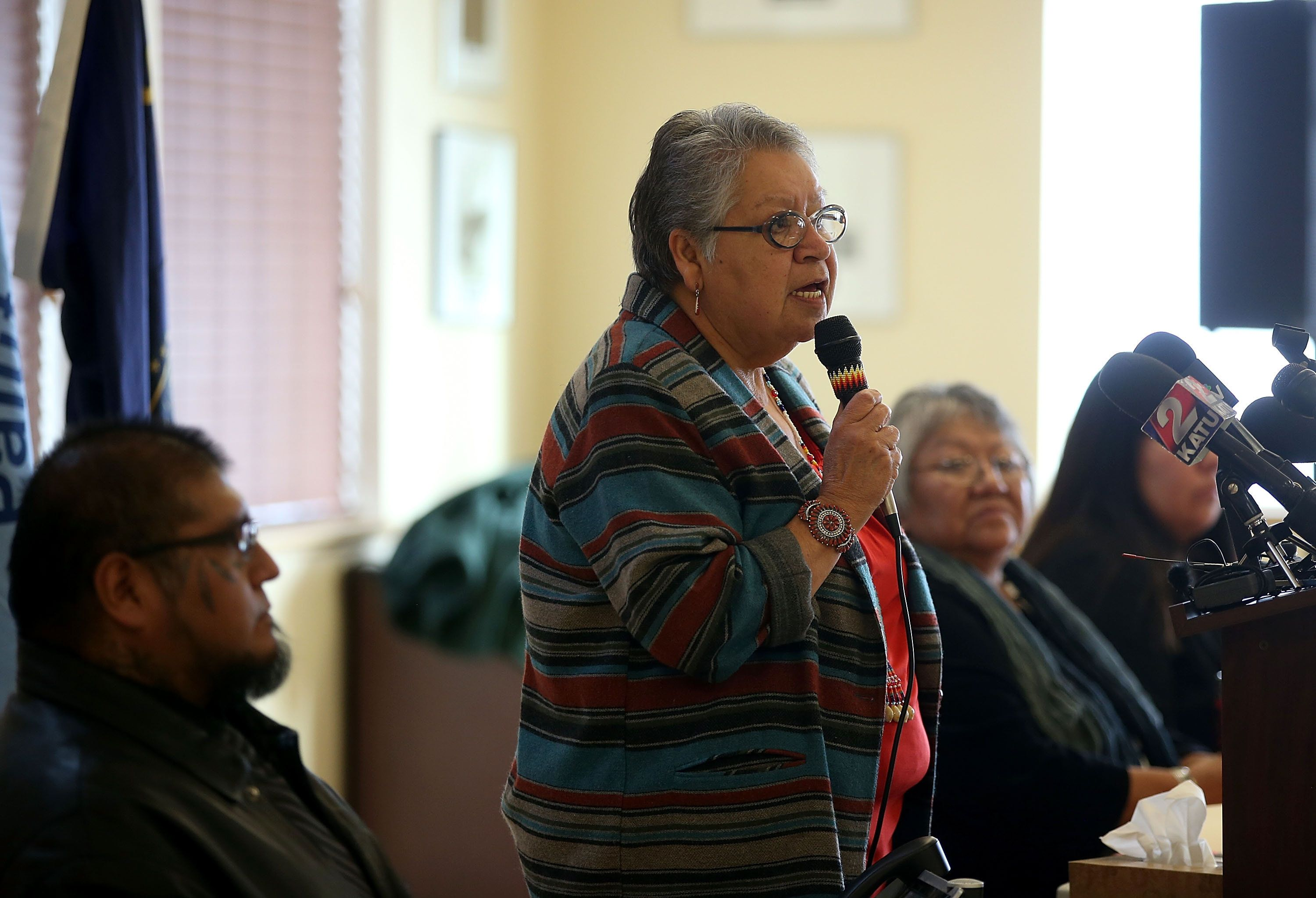 BURNS, OR - JANUARY 06:  Burns Paiute Tribal Council chair Charlotte Rodrique speaks during a press conference on January 6, 2016 in Burns, Oregon.  The Burns Paiute Tribal Council denounced the occupation of the Malheur National Wildlife Headquarters by an armed anti-government militia group and are calling for an end to the standoff.  (Photo by Justin Sullivan/Getty Images)