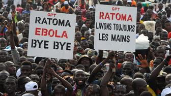 Crowds gather and cheer during the 'Bye bye, Au revoir Ebola' (Bye bye, Goodbye Ebola) concert on December 30, 2015 in Conakry. International artists Youssou Ndour, Tiken Jah Fakoly, Mory Kante, Aicha Kone and Guinea's president Alpha Conde celebrated during the 'Bye bye, Au Revoir Ebola' (Bye bye, Goodbye Ebola) concert on December 30, saluting the efforts of the people of Guinea in the eradication of the ebola virus, with the end of the epidemic announced December 29 by the World Health Organization.  / AFP / CELLOU BINANI        (Photo credit should read CELLOU BINANI/AFP/Getty Images)