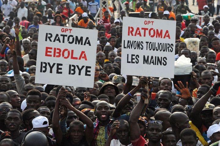 "Crowds cheer during the ""Bye Bye, Au Revoir Ebola"" concert in Conakry Guinea, on Dec. 30, 2015."