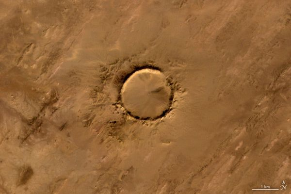 "The letter O, as embodied by theTenoumer meteorite crater in Mauritania, in a satellite<a href=""http://earthobservatory."