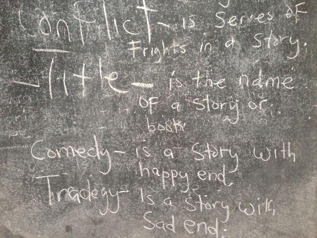 A blackboard displays astorytelling lesson at the M.V. Massaquoi School, a former Ebola holding...