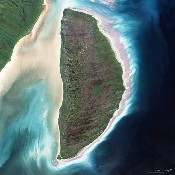 "The letter D, as played by this satellite image of Akimiski Island in James Bay, <a href=""http://earthobservatory.nasa.g"