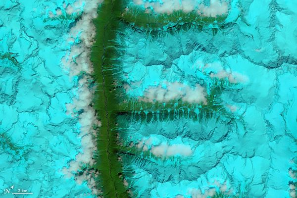The letter F, shown by a false-color satellite image of a snowy Tibetan mountain range (August 4, 2014).