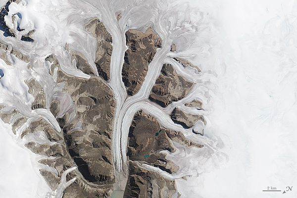 The letter K, as modeled by a satellite image of the Sirmilik National Park Pond Inlet in Mittimatalik, Canada