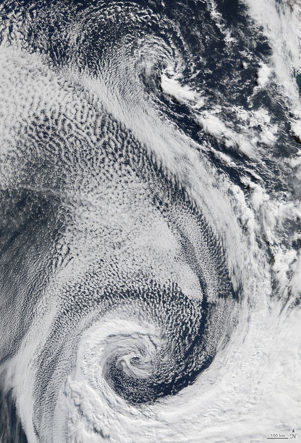 The letter S, as shown by a satellite image of clouds above the Atlantic Ocean (April 29, 2009).