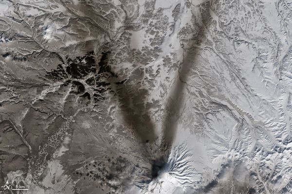 "The letter V, as modeled by ash on the slopes of Russian volcano Shiveluch, shown in a satellite <a href=""http"