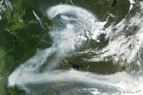 The letter Z, as played by smoke from a wildfire billowing over Canada, caught in a satellite image (July 11, 2012).