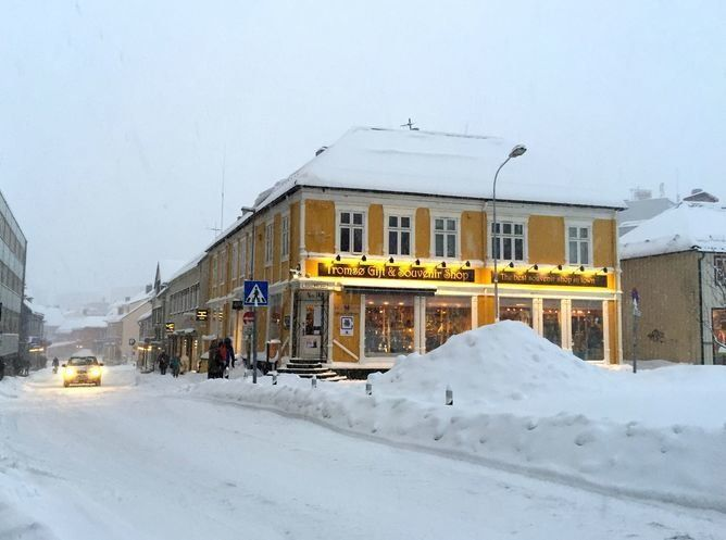 Tromsø's snowy town center.