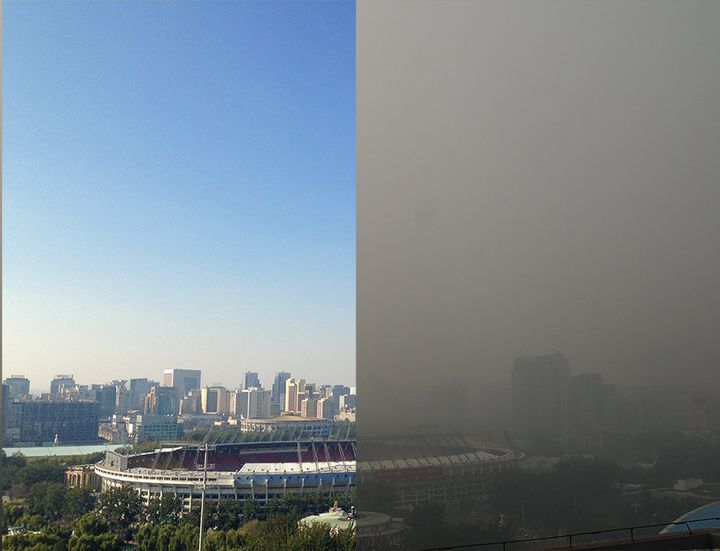Beijing's Workers' Stadium on smoggy and clear days in 2014.