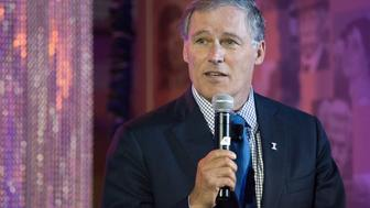SEATTLE, WA - OCTOBER 11: Washington Governor Jay Inslee addresses the crowd during a launch event for the Bezos Center for Innovation at the Museum of History and Industry on October 11, 2013 in Seattle, Washington. Supported by Jeff and MacKenzie Bezos, the center aims to highlight the history and future of innovation in the Puget Sound region. (Photo by David Ryder/Getty Images)