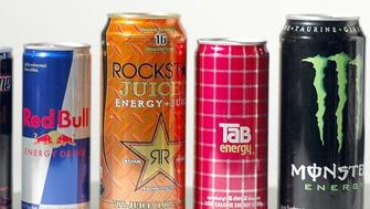 BOSTON - MAY 30:  A collection of energy drinks including (left to right) Full Throttle Fury, Sobe Adrenaline Rush, Red Bull, Rockstar Juice, Tab Energy, and Monster Energy, in Boston, Massachusetts, on May 30, 2006.  (Photo by John Nordell/The Christian Science Monitor via Getty Images)