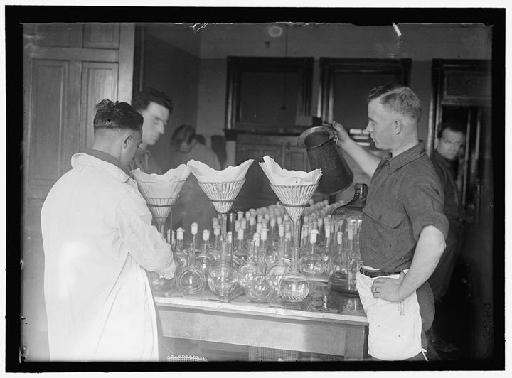 Typhoid vaccine at the U.S. Army Medical School, circa 1917.