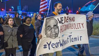 CLEVELAND, OH - DECEMBER 29: Demonstrators march on Ontario St. on December 29, 2015 in Cleveland, Ohio. Protestors took to the street the day after a grand jury declined to indict Cleveland Police officer Timothy Loehmann for the fatal shooting of Tamir Rice on November 22, 2014. (Photo by Angelo Merendino/Getty Images)