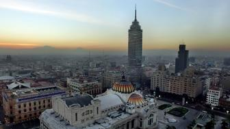 DO NOT PUBLISH WITHOUT TALKING TO PHAEDRA BROWN. HOLD FOR: 52 Places To Go 2016.  Mexico City with the Torre Latinoamericana in the background and the Palacio de Bellas Artes in the foreground.  Drone image by Josh Haner, Margaret Cheatham Williams, Larry Buchanan, Daniel Reyes, Luis Alvarez/RentUnDron  CREDIT: The New York Times                              NYTCREDIT: The New York Times