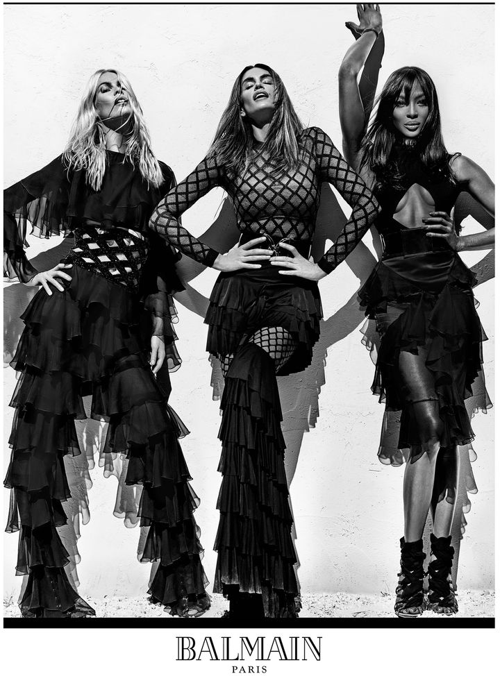 Claudia Schiffer, Cindy Crawford, and Naomi Campbell in Balmain's Spring/Summer 2016campaign.