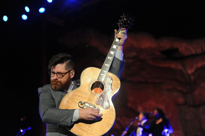 Colin Meloy of The Decemberists performs at Red Rocks Amphitheatre in Morrison, Colorado on May 27, 2015. Meloy recently turn