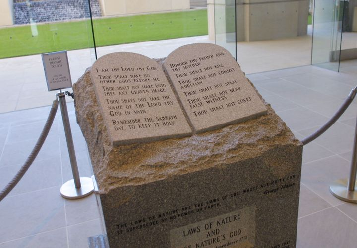Moore was kicked off the Alabama Supreme Court in 2003 for refusing to remove this Ten Commandments monument that h