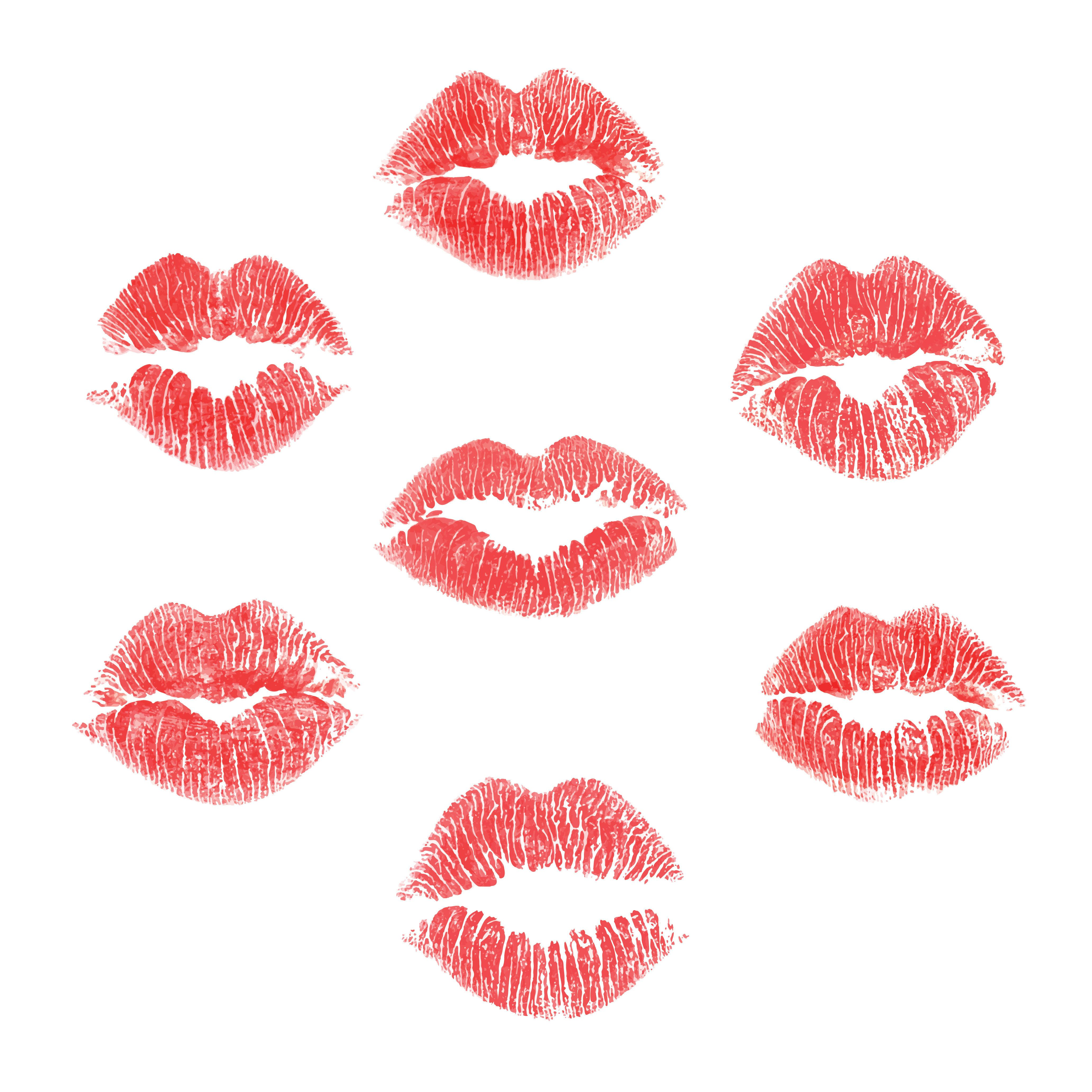 EPS10 lips prints set of 7