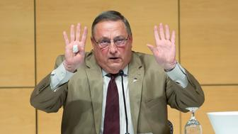 PORTLAND, ME - DECEMBER 8: Gov. Paul LePage signals that he is done with answering questions during a 'town hall' session at the Abromson Center at the University of Southern Maine on Tuesday, December 8, 2015. (Photo by Derek Davis/Portland Press Herald via Getty Images)