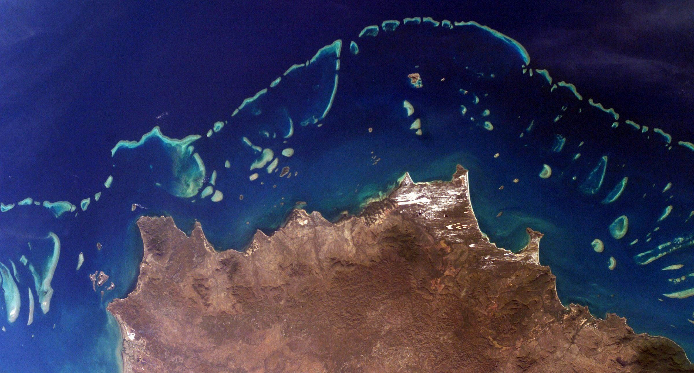 Part of Australia's Great Barrier Reef, one of many reefs that NASA's COral Reef Airborne Laboratory (CORAL) will study begin