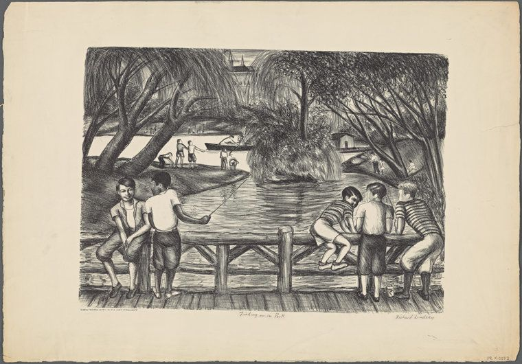 """A piece created for the Works Progress Administration titled """"Fishing In the Park,"""" sometime between 1935 and1943."""