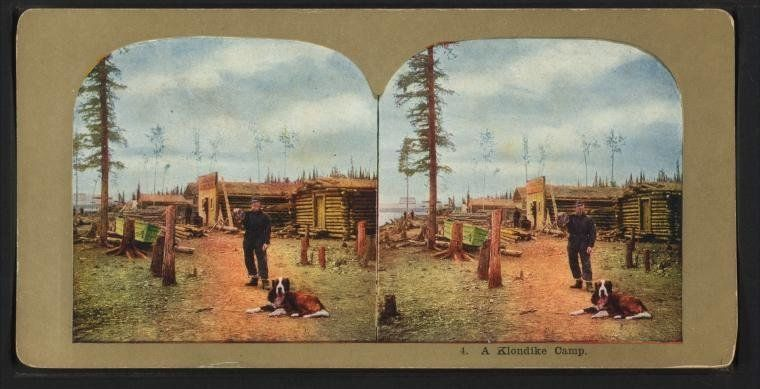 A stereoscopic view of a Klondike camp in Alaska. The date is unknown.