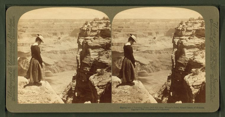 """A stereoscopic image titled """"Gazing into a yawning chasm 5000 feet deep, Moran's Point,"""" taken in the Grand Canyon in19"""