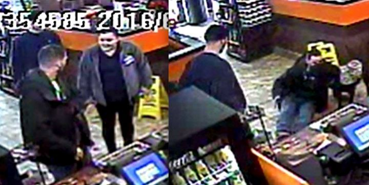 Surveillance video shows the veteran being approached at a counter, left, before knocked to the ground, right.