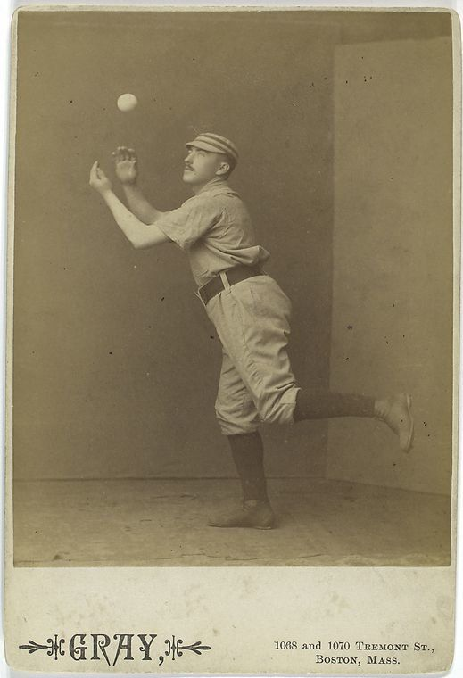 A photo from the Spalding Baseball Collection shows Jim Fogarty of the Philadelphia Quakers, sometime in the late 1800s.