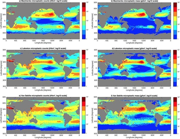 Maps of three model solutions for the amount of microplastics floating in the global ocean as particle counts (left column) a