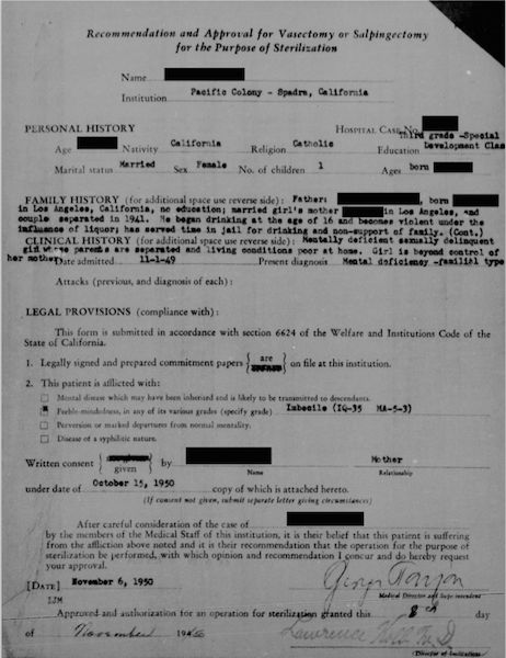 """""""Recommendation and Approval for Vasectomy or Salpingectomy for the Purpose of Sterilization."""" Image used in accordance with the California Committee for the Protection of Human Subjects Protocol ID 13-08-1310 and the University of Michigan Biomedical IRB HUM00084931."""