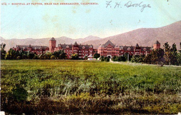Postcard c.1910s of Patton State Hospital in San Bernardino. Patton, Southern California's primary mental hospital for