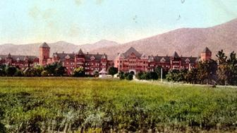 Postcard c.1910s of Patton State Hospital in San Bernardino. Patton, Southern California's primary mental hospital for many years, was the largest sterilizer of the mentally ill in California and second highest sterilizer overall in the state.