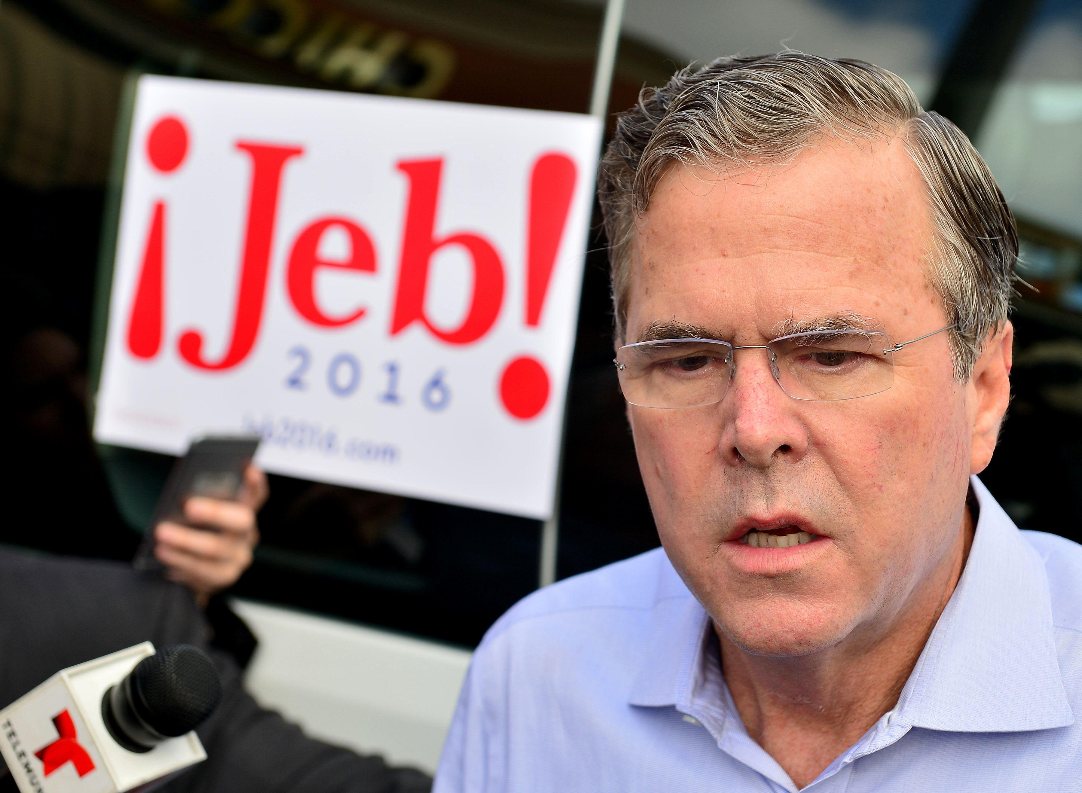 MIAMI, FL - DECEMBER 28:  Republican presidential candidate and former Florida Governor Jeb Bush holds a meet and greet at Chico's Restaurant on December 28, 2015 in Hialeah, Florida.  (Photo by Johnny Louis/FilmMagic)