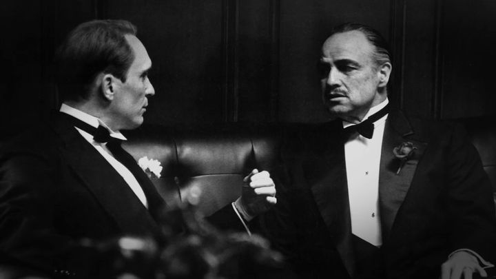 """Robert Duvall (left) has worked with acting legends, like Marlon Brando in """"The Godfather."""" Today's young actors, Duvall&nbsp"""